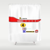 moto Shower Curtains featuring Johnny Cecotto 1979 Moto Grand Prix by Krakenspirit