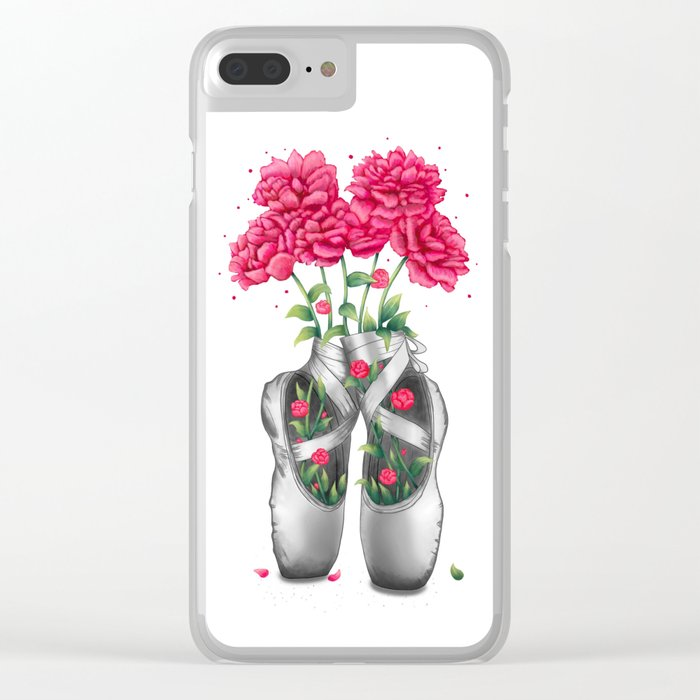 Pointe with pink peonies Clear iPhone Case