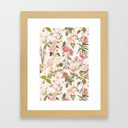 Vintage & Shabby Chic - Pink Sepia Summer Flowers Framed Art Print