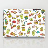 junk food iPad Cases featuring Awesome retro junk food icons by Little Smilemakers Studio