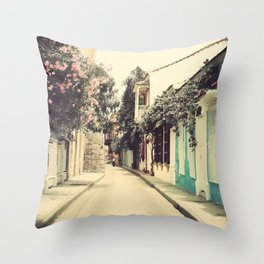 Just like a dream street, Cartagena (Retro and Vintage Urban, architecture photography) Throw Pillow