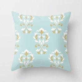 Heart Damask Ptn Gold Cream Blue Throw Pillow