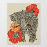 animals Canvas Prints featuring The Elephant by Valentina Harper