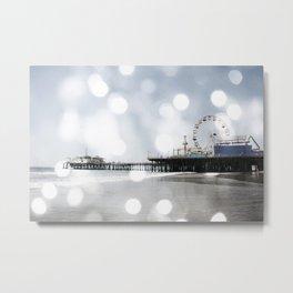 Sparkling grey Santa Monica Pier Metal Print