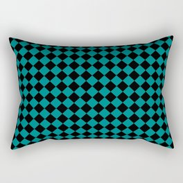 Black and Teal Green Diamonds Rectangular Pillow