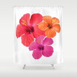 Red Orange Pink Hibiscus Shower Curtain