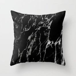 Black magic marble Throw Pillow