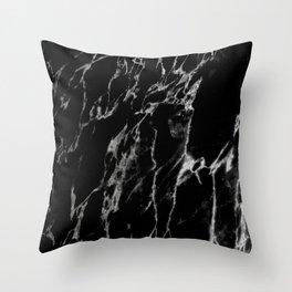 Black magic marble Throw Pillow
