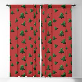 Sparkly Christmas tree green sparkles on red Blackout Curtain