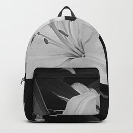 Contemporary Black White Lily Flower Floral Art A116 Backpack