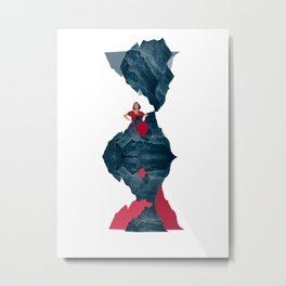 Woman with a Red Dress and the Blue Cliffs, Collage Art Metal Print