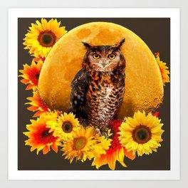 NIGHT OWL MOON SUNFLOWER ART Art Print