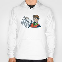 newspaper Hoodies featuring Newsboy Newspaper Delivery Retro by retrovectors