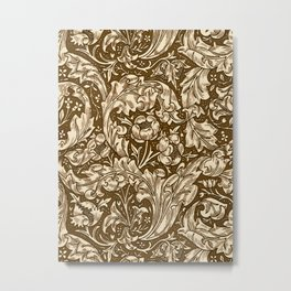 Art Nouveau Acanthus Leaves and Flowers, Brown Metal Print