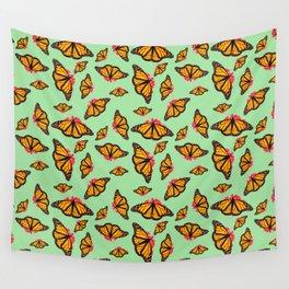 Orange Monarch Butterfly Pattern Wall Tapestry