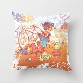 Bicycle Picnic Throw Pillow