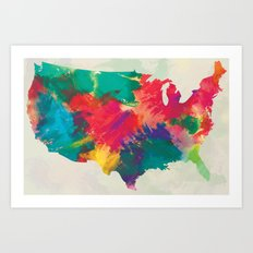 Watercolor U.S.A. Map Art Print