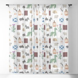 Famous Scottish Icons Pattern Sheer Curtain