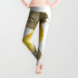 Gold and Grey Ink Watercolor Abstract Leggings