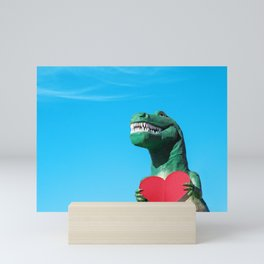 Tiny Arms, Big Heart: Tyrannosaurus Rex with Red Heart Mini Art Print