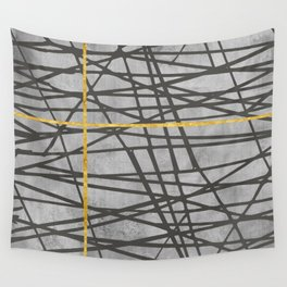 Black abstract black and gold lines on concrete - Mix & Match with Simplicty of life Wall Tapestry