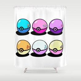 Pokeballs make Friendships Shower Curtain