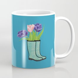 Rain Boots and Purple Tulips With Water Droplet/ Spring Decor Coffee Mug