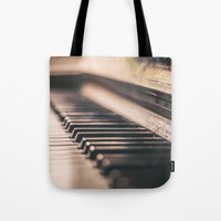 piano Tote Bags featuring Piano by Juste Pixx Photography