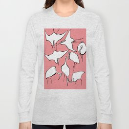 """Hokusai (1760-1849) """"Cranes from Quick Lessons in Simplified Drawing""""(edited) Long Sleeve T-shirt"""
