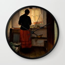 Anna Ancher - Girl In The Kitchen - Digital Remastered Edition Wall Clock