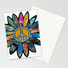 Peace Sign Flower Blues Stationery Cards