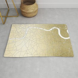 Gold on White London Street Map II Rug