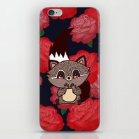 racoon iPhone & iPod Skins featuring Racoon & roses by Carogribouillis