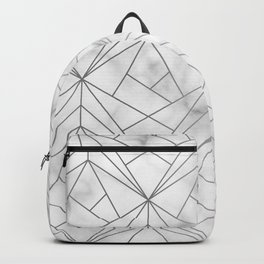 Geometric Silver Pattern on Marble Texture Backpack