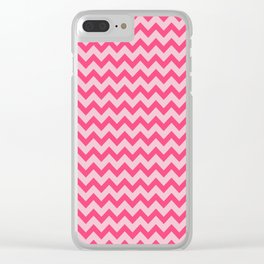 Pink Chevron Pattern Clear iPhone Case