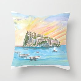 Amore in Ischia Italy with Castello Aragonese Throw Pillow