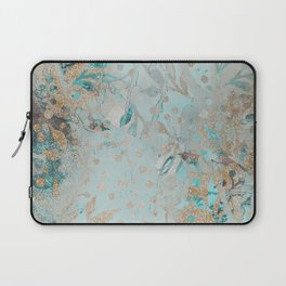 Pastel Botanical Watercolor Pattern Teal Gold Glitter Laptop Sleeve