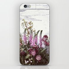 Pink flowers on shabby wood iPhone & iPod Skin