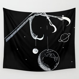 Queen of the Planets - White Ink Wall Tapestry