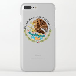 Close up of the Seal from the flag of Mexico on Adobe red background Clear iPhone Case