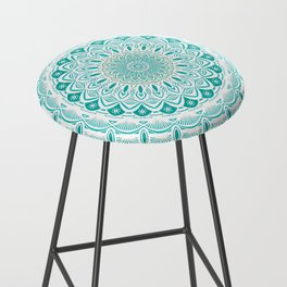 White Mandala on Blue Green Distressed Background with Detail and Textured Bar Stool