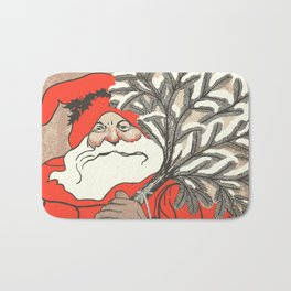 Christmas Pudding And Vintage Santa Vector Bath Mat