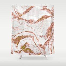 Rose Quartz Marble With Sparkly 24-Karat Gold Veins Shower Curtain