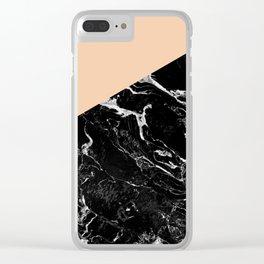 Modern elegant peach black marble color block Clear iPhone Case