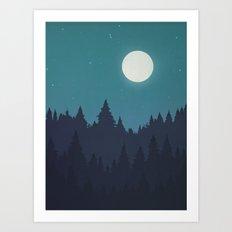 Tree Line - Turquoise Art Print
