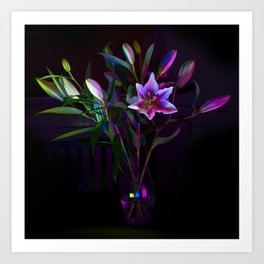 Multicolour Lilies Art Print