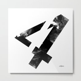 Black and White Abstract Geometric 4 Metal Print