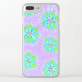 Dayglow Aqua Petal Rose Clear iPhone Case