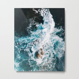 Waves and Sunshine from above – Ocean Photography Metal Print