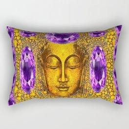 ART NOUVEAU AMETHYST PURPLE & GOLD BUDDHA ABSTRACT Rectangular Pillow
